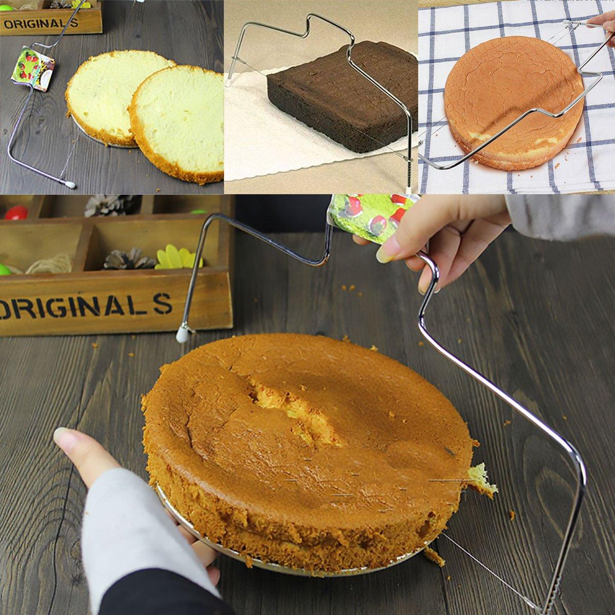 IEFIEL Stainless Steel 2-Wire Cake Bread Cutter Slicer Cutting Leveler Decor Kitchen Baking Supplies Adjustable Height 10048925-US
