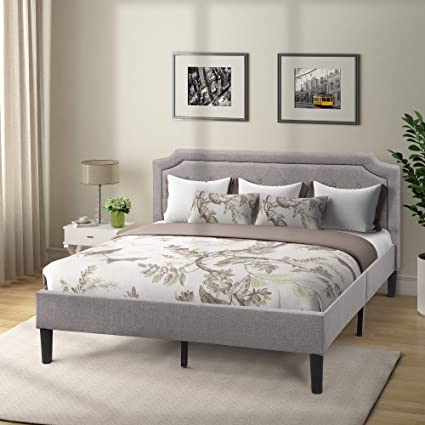 332f116d22 Image Unavailable. Image not available for. Color: Platform Bed Frame  Upholstered Scalloped Linen King ...