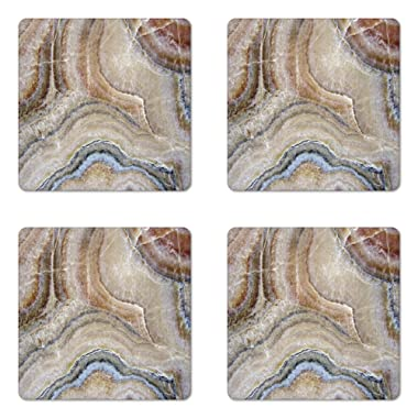 Ambesonne Marble Coaster Set of Four, Surreal Onyx Stone Surface Pattern Pale Blue Details Artistic Picture, Square Hardboard Gloss Coasters for Drinks, Cinnamon Grey Tan Beige