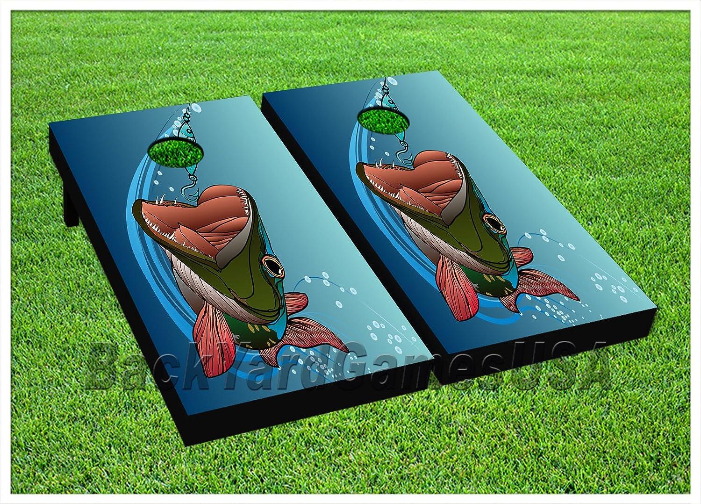 釣りフックCornhole Beanbag Toss Game WバッグゲームボードFish Oceanセット550   B071ZGZG5H