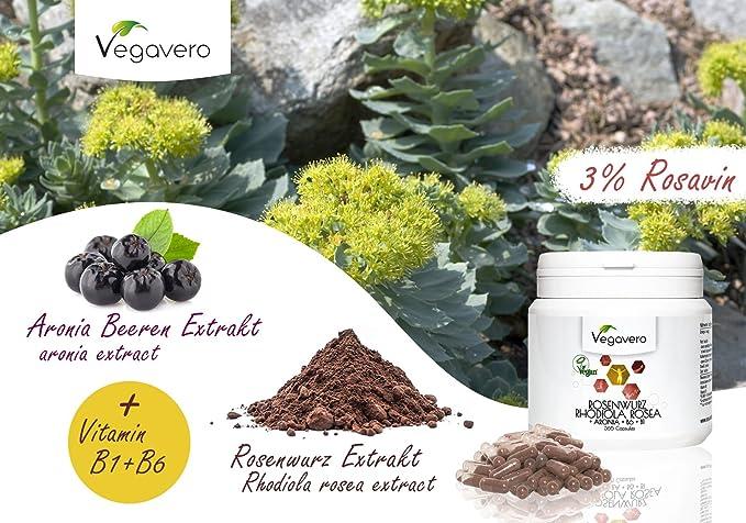 Vegavero Rhodiola Rosea | con Rosavin + Aronia + B6 + B1 | 365 cápsulas | aumentar memoria concentración energía | reducir fatiga estrés insomnio | Vegano: ...