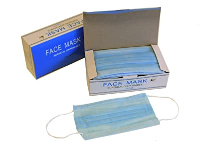 Face 150 Pack Material Loop Disposable Anti By 3 With Pcs Of 3 - Packs Ear Ply One Dust Pp Aspro Size Blue 100 Mask Polypropylene 50