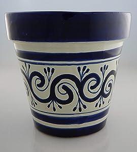 Mexican Talavera Planter Ceramic Flower Pot Folk Art Pottery Garden Handmade # 14