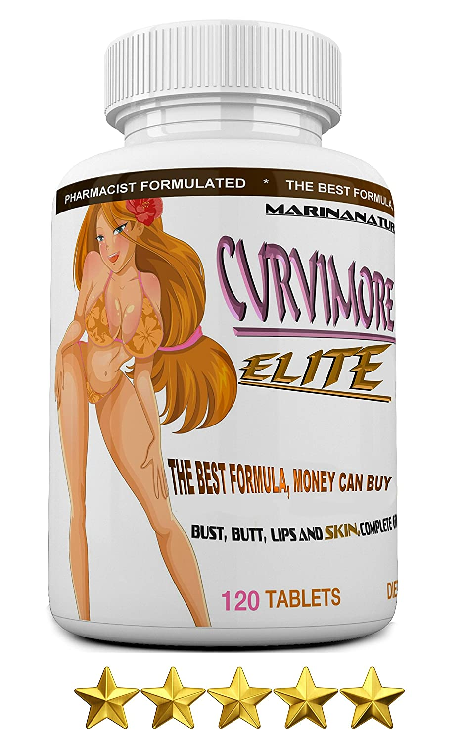 CURVIMORE Elite ? Our Most Advanced Natural Breast Enlargement, Butt Enhancement, Bust Enhancement Lip Plumping & Skin Tightening Pills – Fuller Breasts, Booty & Brazilian Butts. 120-Tablets.
