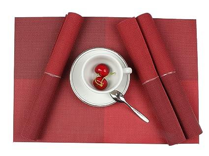 PVC Platzsets Famibay Abwaschbar Rutschfest Stoff Tischsets 4er Set Rot Plastik Platzdecken