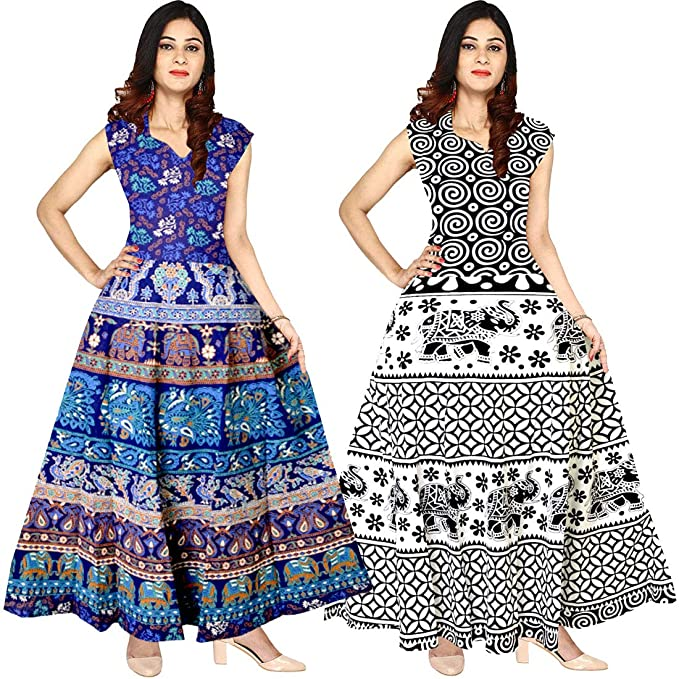 b69f0c95927c Image Unavailable. Image not available for. Colour  Silver Organisation  Women s Cotton Jaipuri Printed Maxi Long Dress ...