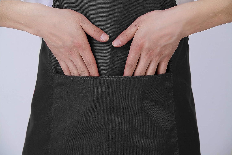 Hi loyaya Bib Black Aprons with Pockets for Women Men Adult Chef 12, Black 12 Pack Bulk Kitchen Aprons for Cooking Baking Painting