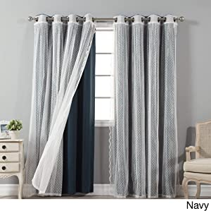 Aurora Home Mix & Match Blackout and Dot Sheer 4 Piece Curtain Panel Set - 52x84 Navy 84 Inches