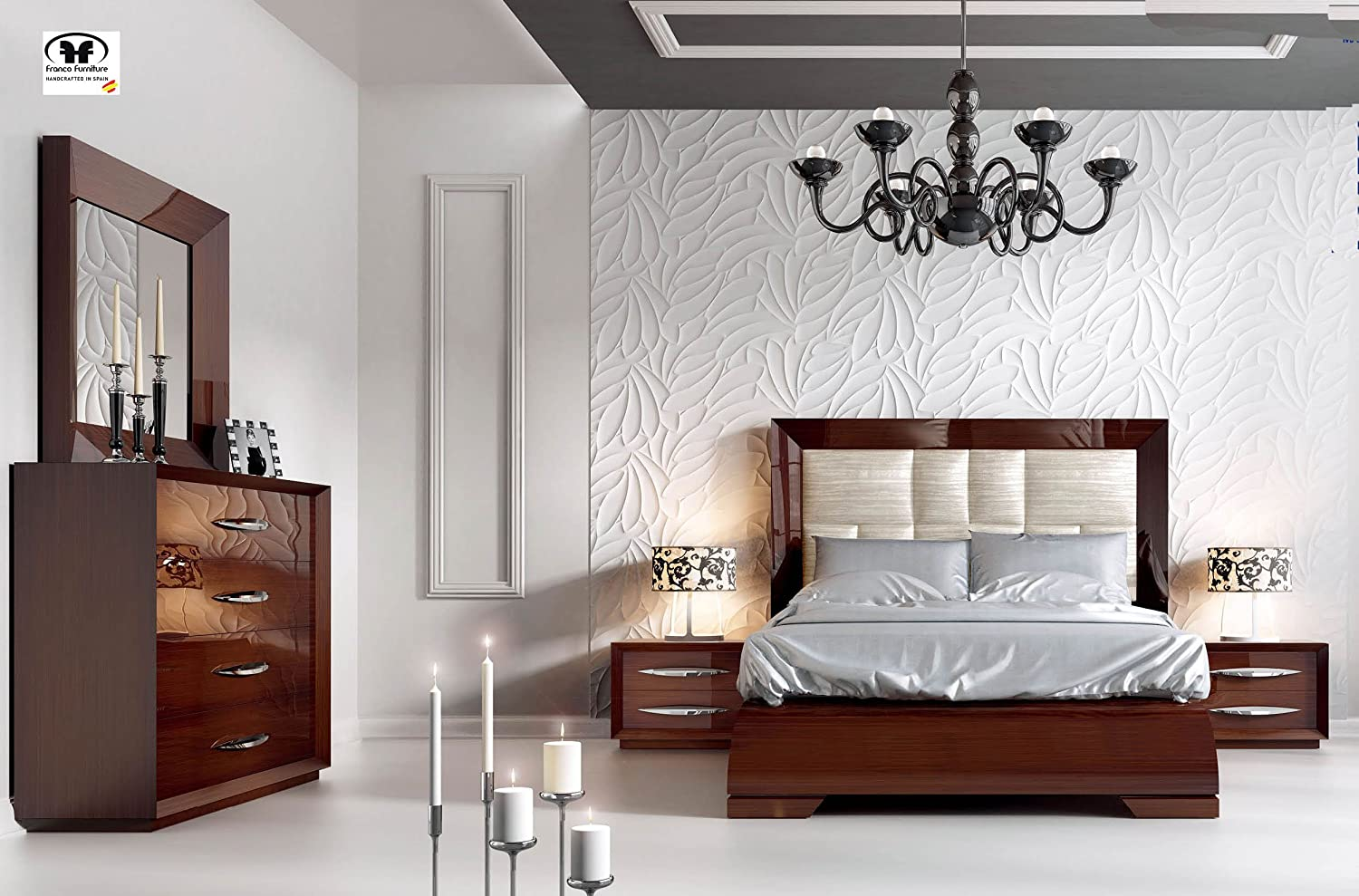 193a516b5ea Amazon.com  Modern Contemporary King or Queen Size Bed Set Made in Spain  Carmen by ESF (King)  Kitchen   Dining