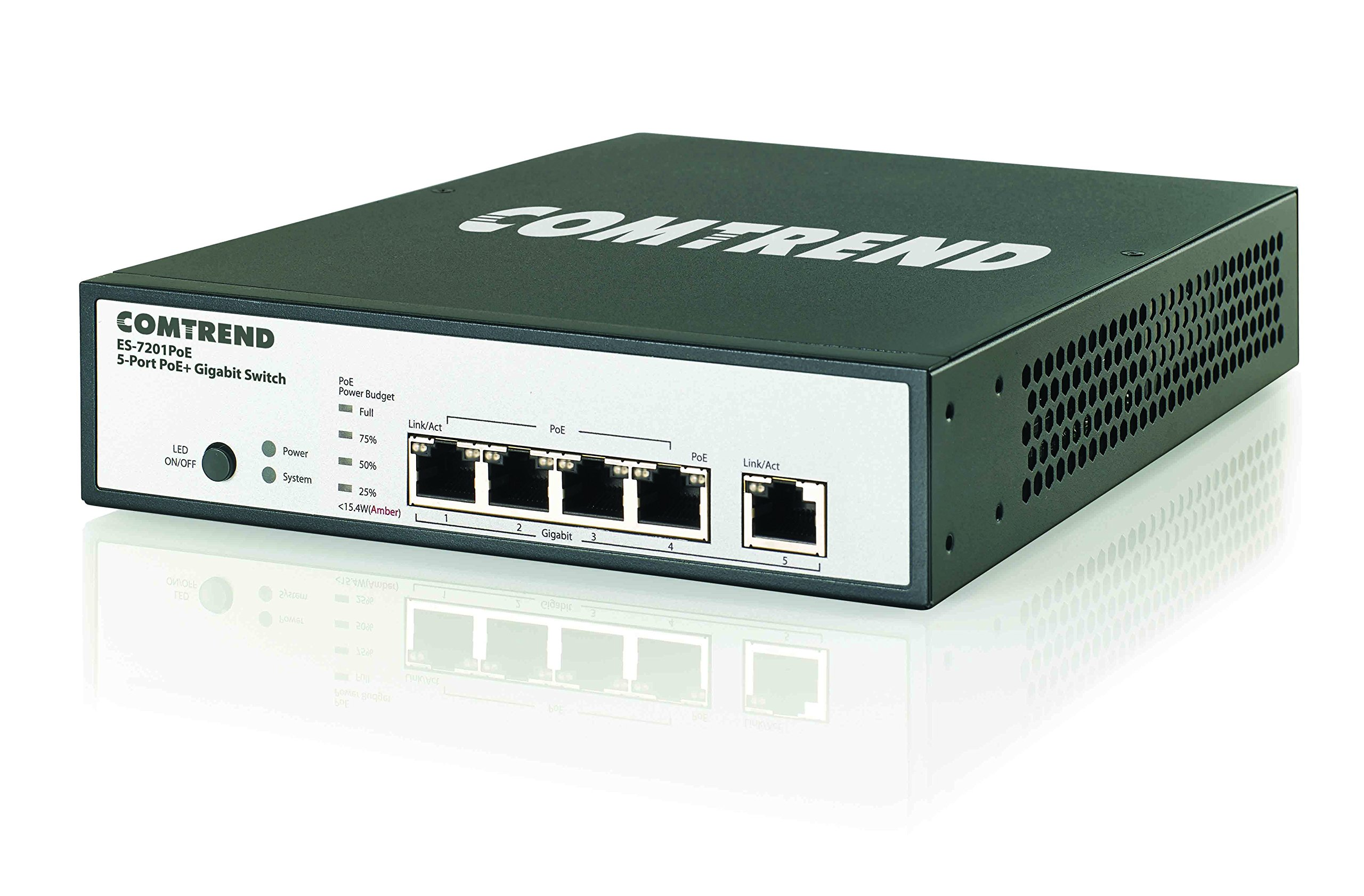 Comtrend High Power 5-Port 802.3at PoE+ Gigabit Ethernet Switch ES-7201POE by Comtrend