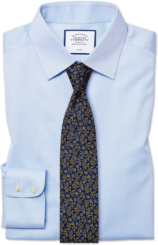 Charles Tyrwhitt Camisa Azul Celeste de Corte clásico con Estampado Micro Pata de Gallo