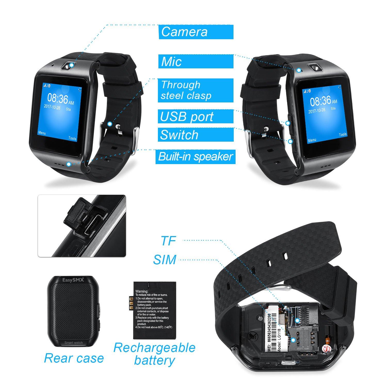 Smartwatch, [Regalo Para Padre] EasySMX Reloj Inteligente Bluetooth Tarjeta TF SIM para Andriod/IOS con Cámara Batería 550mAh Facebook Whatsapp ...