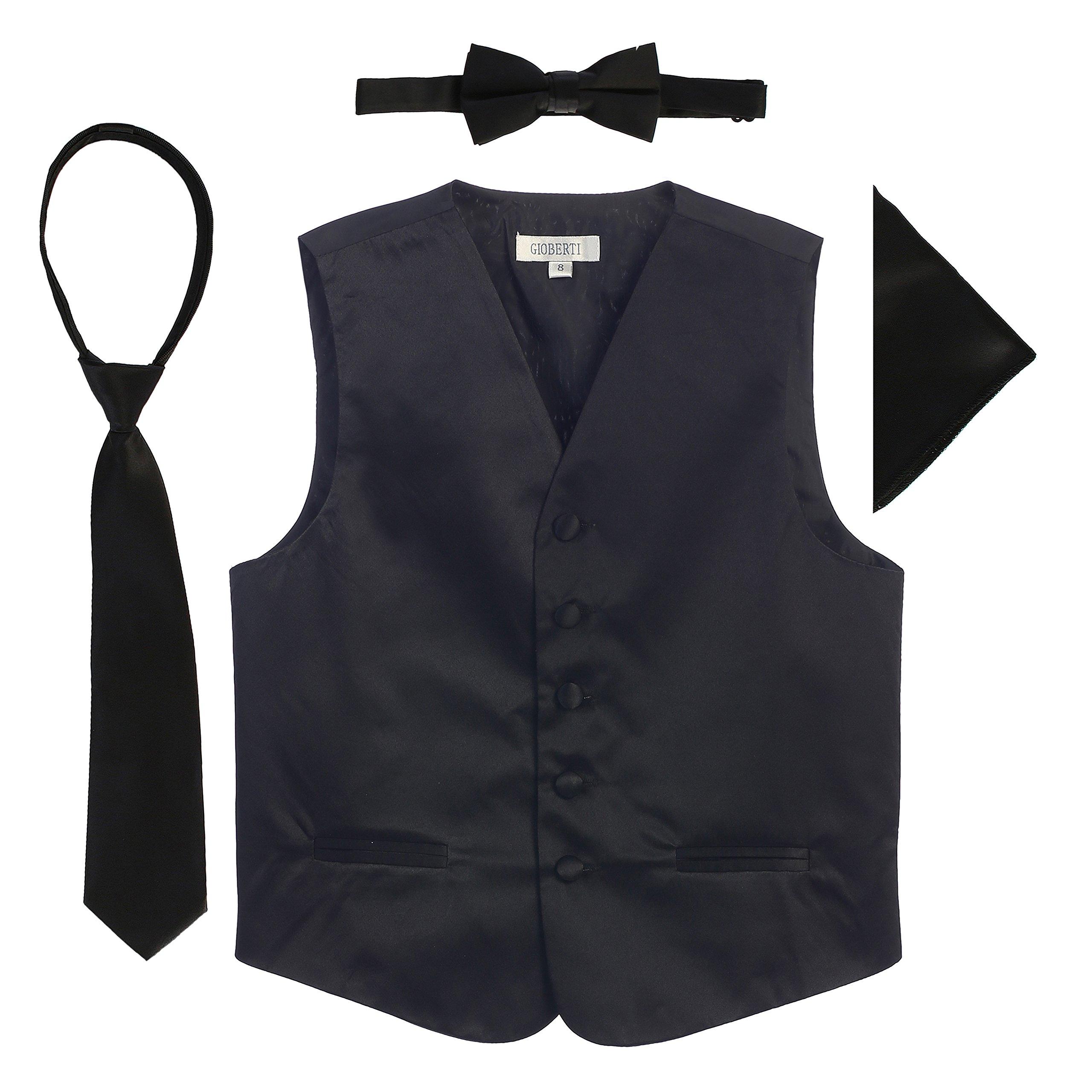 Gioberti Boys 4pc Satin Formal Vest Set, Black, 6-7