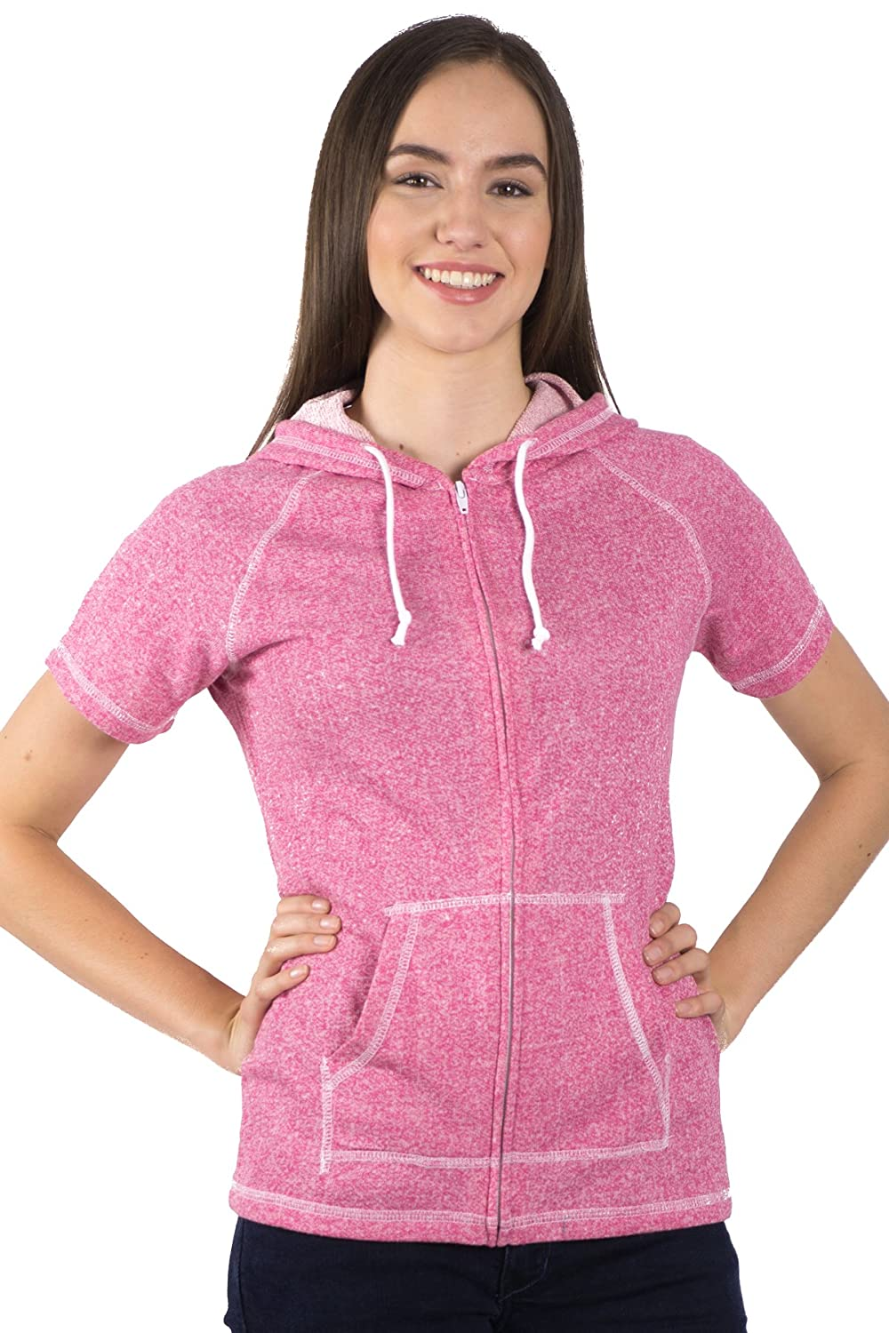 4a5f8052 PimaTee Women's French Terry Short Sleeve Zip Hoodie at Amazon Women's  Clothing store: