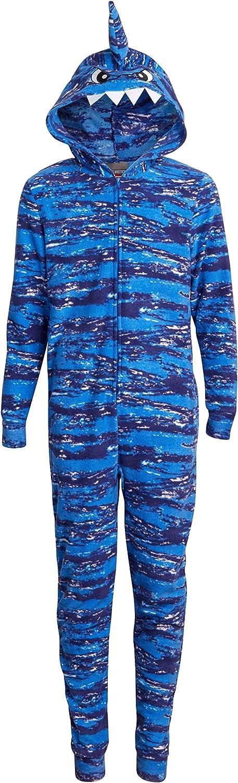 MAC HENRY Boys' Lightweight Fleece Onesie Pajama with Character Hood