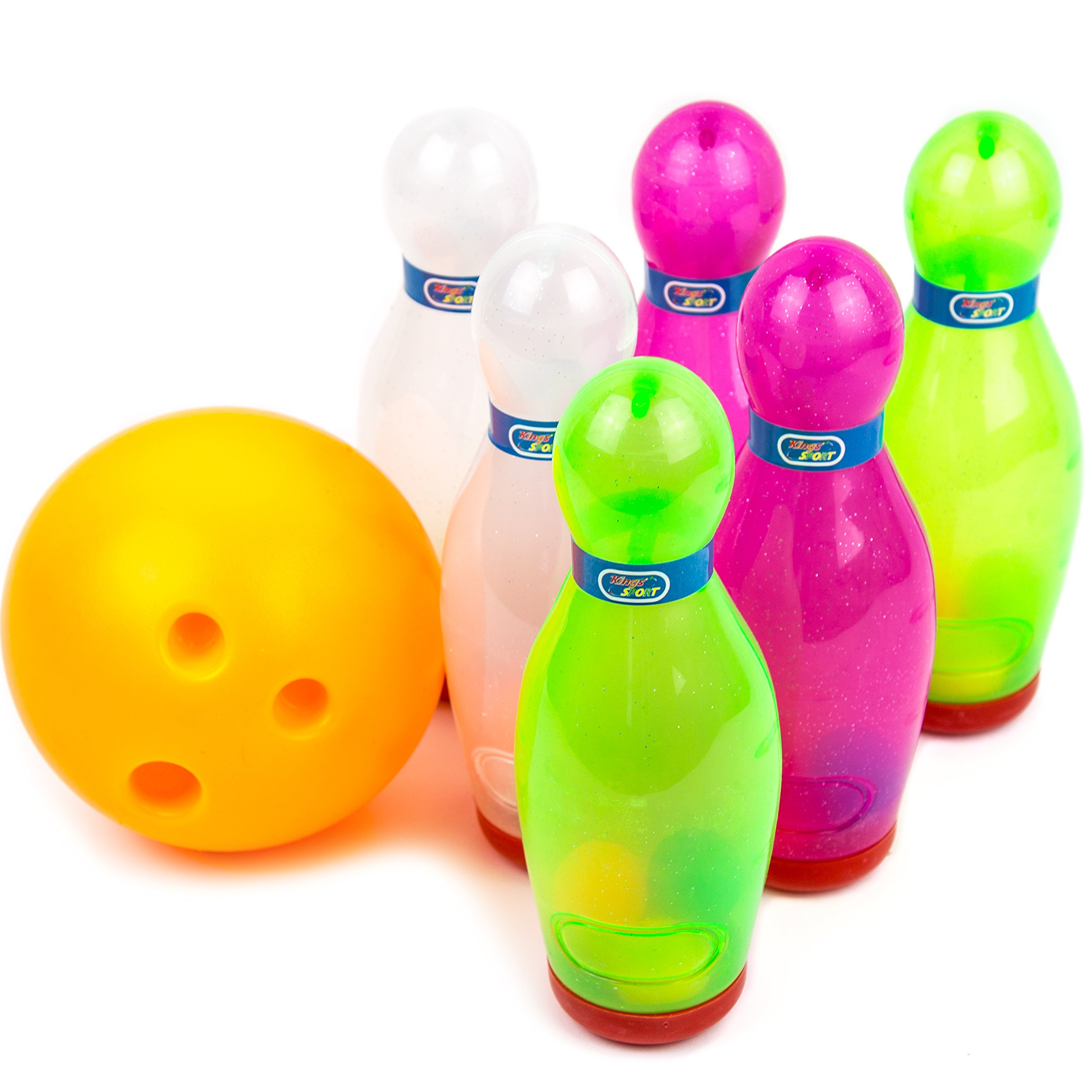 Toysery Bowling Game Set - Inflatable Bowling Ball Set for Kids - Outdoor & Indoor Fun for Children And Adults- Includes 1 Ball & 6 Pins