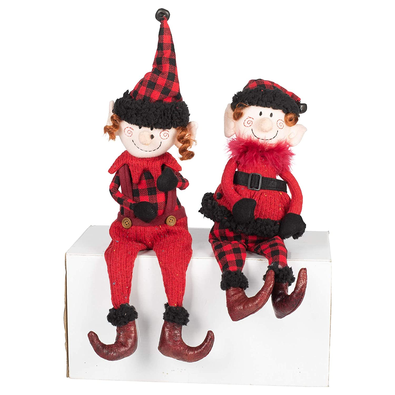 Midwest-CBK Woodland Elves Sitter Red Plaid 17 x 6 Fabric Christmas Figurines Set of 2