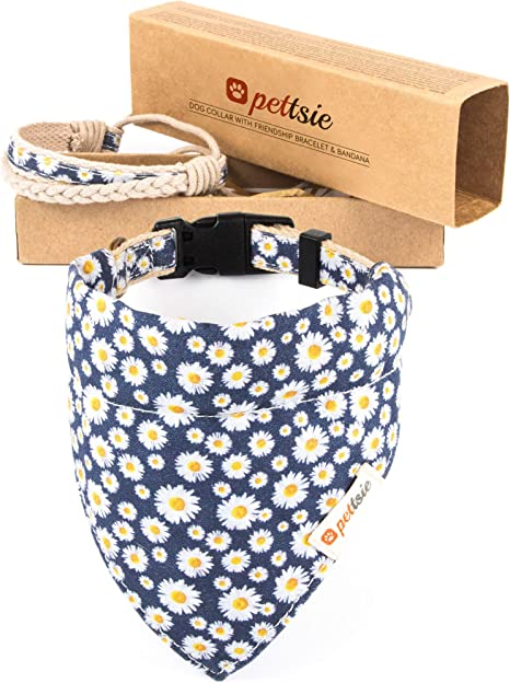 Pettsie Gift Set Red and Blue Dog Collar with Bandana and Friendship Bracelet Comfortable and Soft Durable Hemp for Safety