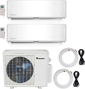 Klimaire 2-Zone (9K + 12K) 20 SEER Ductless Multi-Zone Inverter Air Conditioner Heat Pump with 25 ft & 15 ft Installation Kits
