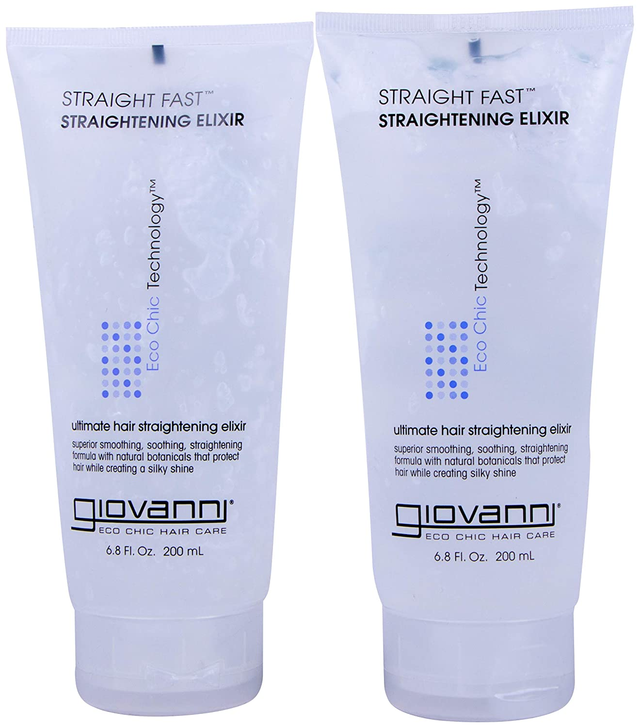 Giovanni Hair Straightening Elixir, Straight Fast with Shine Enhancers, 6.8 lf oz Containers (Pack of 2)