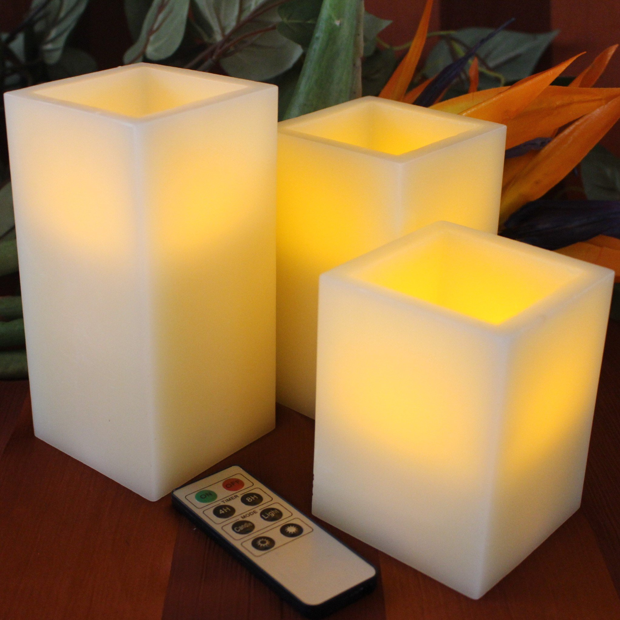 No Model auto-off Timer Remote Control Large fake Battery Powered Candles by LED Lytes Flickering Flameless Candles Battery Operated 3 SQUARE Ivory Wax and Amber yellow Flame