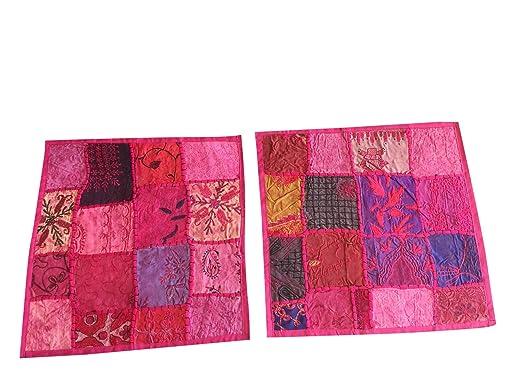 Étnico Rosa Funda de cojín Patchwork bordado algodón ...