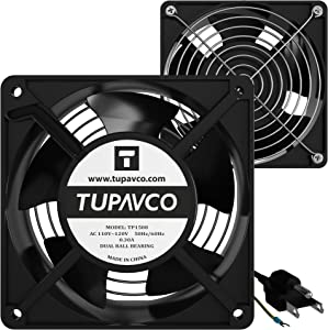Network Cabinet Fan (Dual 2pc Kit) Server Rack Cooling (Pair of Rackmount Muffin Fans 120mm 4in) Steel Frame -110V Cable (Dual Ball for Side/Top Mount) Computer Ventilation Equipment -Tupavco TP1508