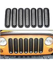 AVOMAR [Upgrade Clip in Version] Matt Black Front Grill Cover Mesh Grille Inserts for Jeep JK Wrangler 2007-2015 (Pack of 7)