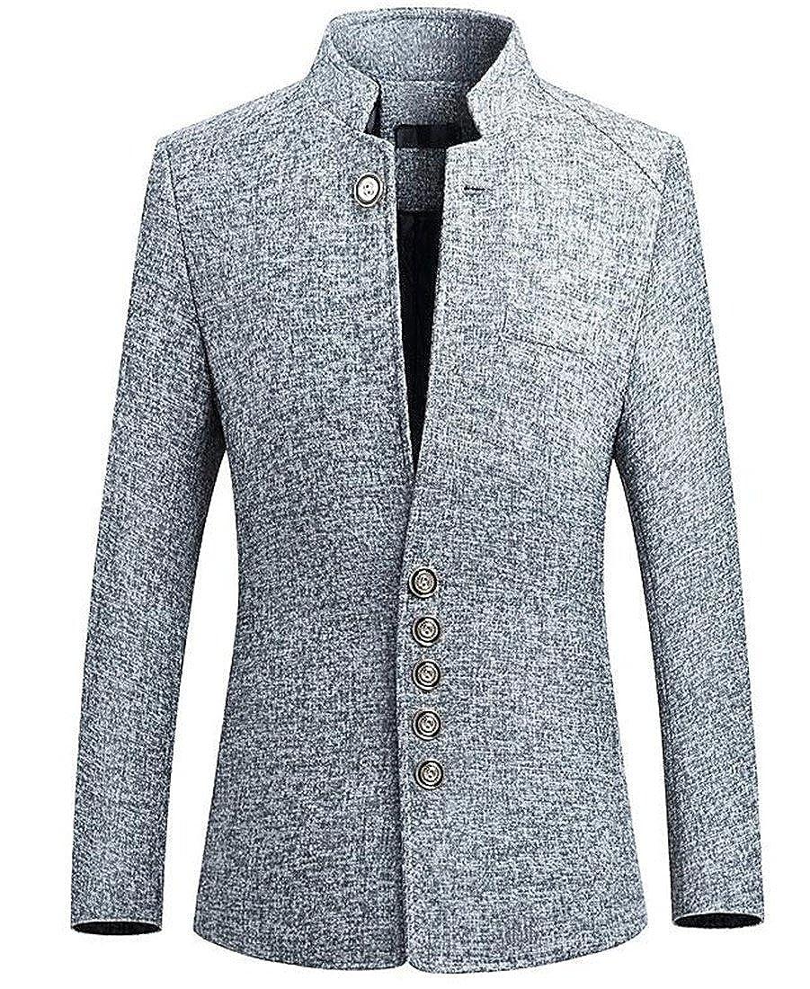 GRMO Men Classic Mandarin Collar Slim Fit Casual Suit Blazer Jacket