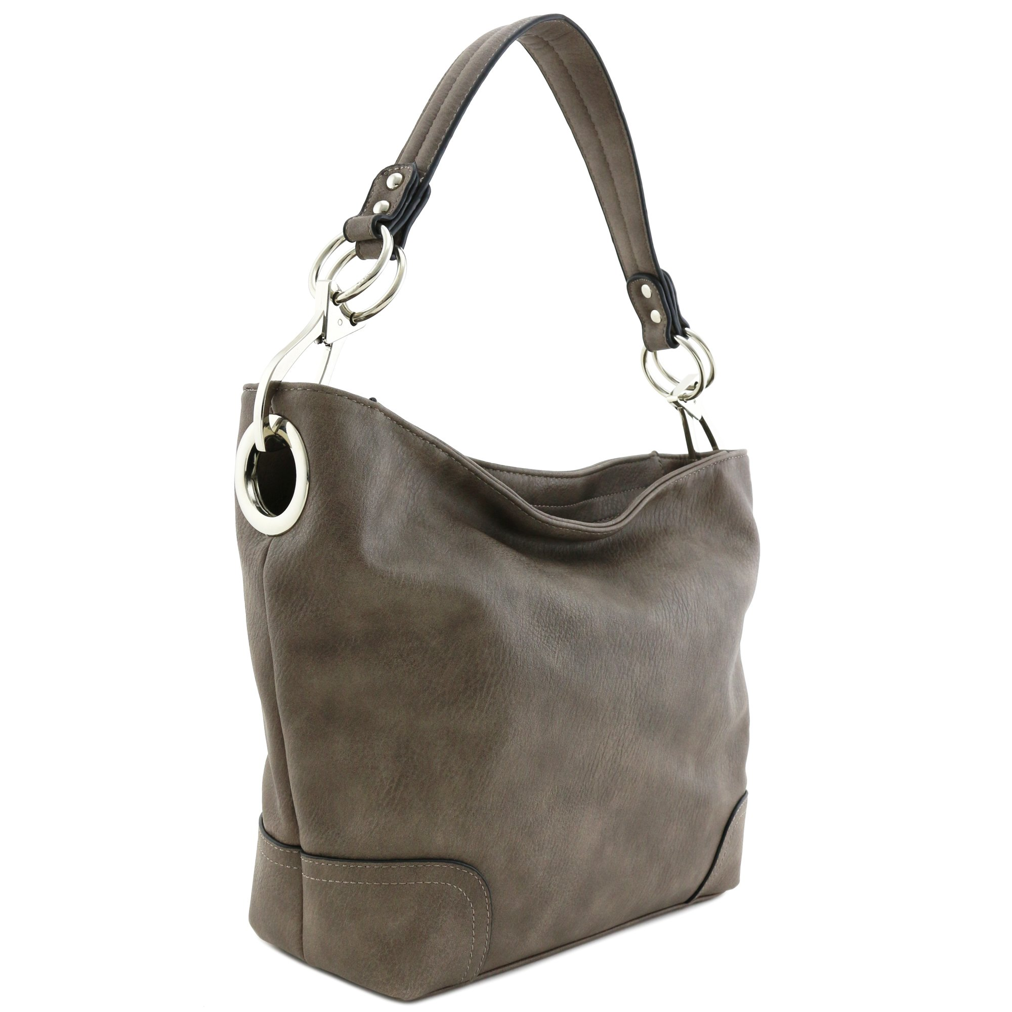 Hobo Shoulder Bag with Big Snap Hook Hardware (Light Coffee)