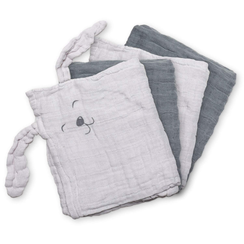 Mullwindeln 4er Set aus Bio Baumwolle Stoffwindeln grau Pippi Spuckt/ücher