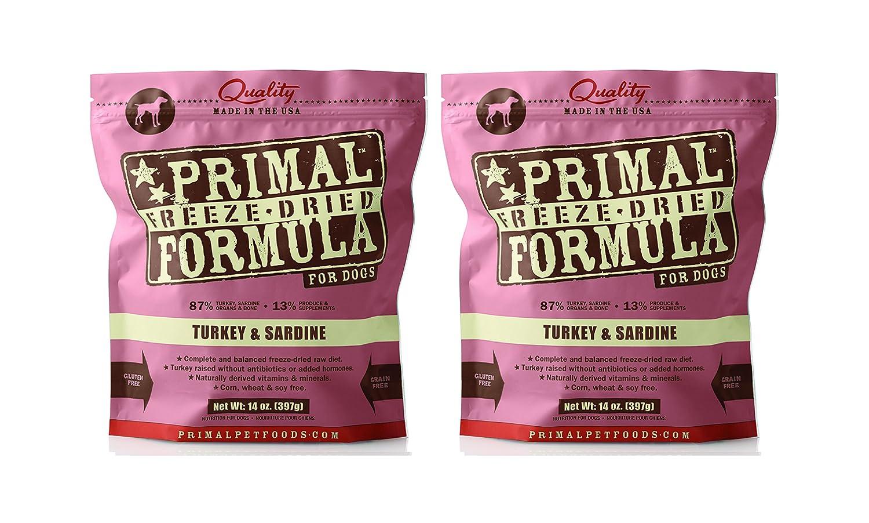 Primal Freeze Dried Nuggets for Dogs 14 oz x 2 Packs Turkey Sardine Formula