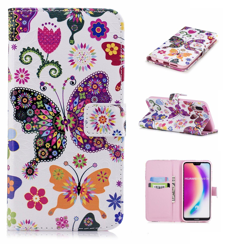 pour Coque Huawei P20 Lite, Housse Coque Protecteur Clapet Portefeuille Cuir PU Luxe avec Fentes et Support de Carte (S) Lohpe