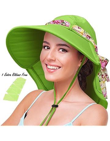 1a19e6a5c3ac8 Womens Sun Hats Neck Flap Large Brim UV Protection Foldable Fishing Hiking  Cap