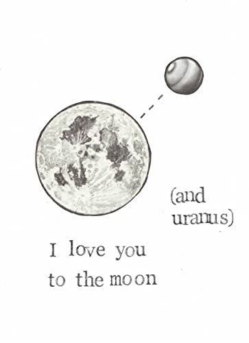 Handmade Eco Friendly Recycled Cards Puns Retro Love Valentines Cosmology Astrology Anniversary I Love You To The Moon And Back