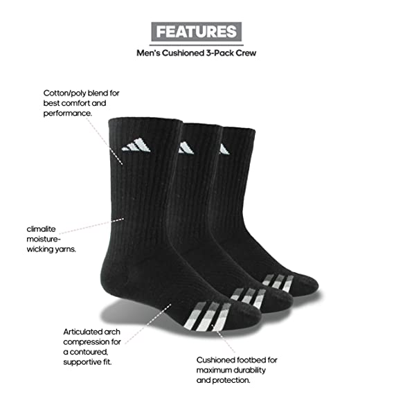 31b44a8da796f Amazon.com: adidas Men's Cushioned Color Crew Socks (3-Pack): Clothing