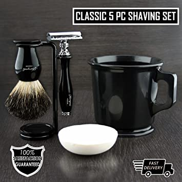 Old School Complete Shaving Kit With Brush Mug De Safety Razor