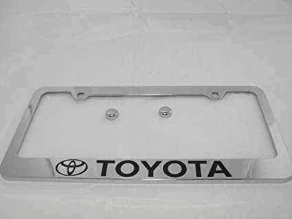 Amazon.com: Toyota Chrome License Plate Frame with Cap: Automotive