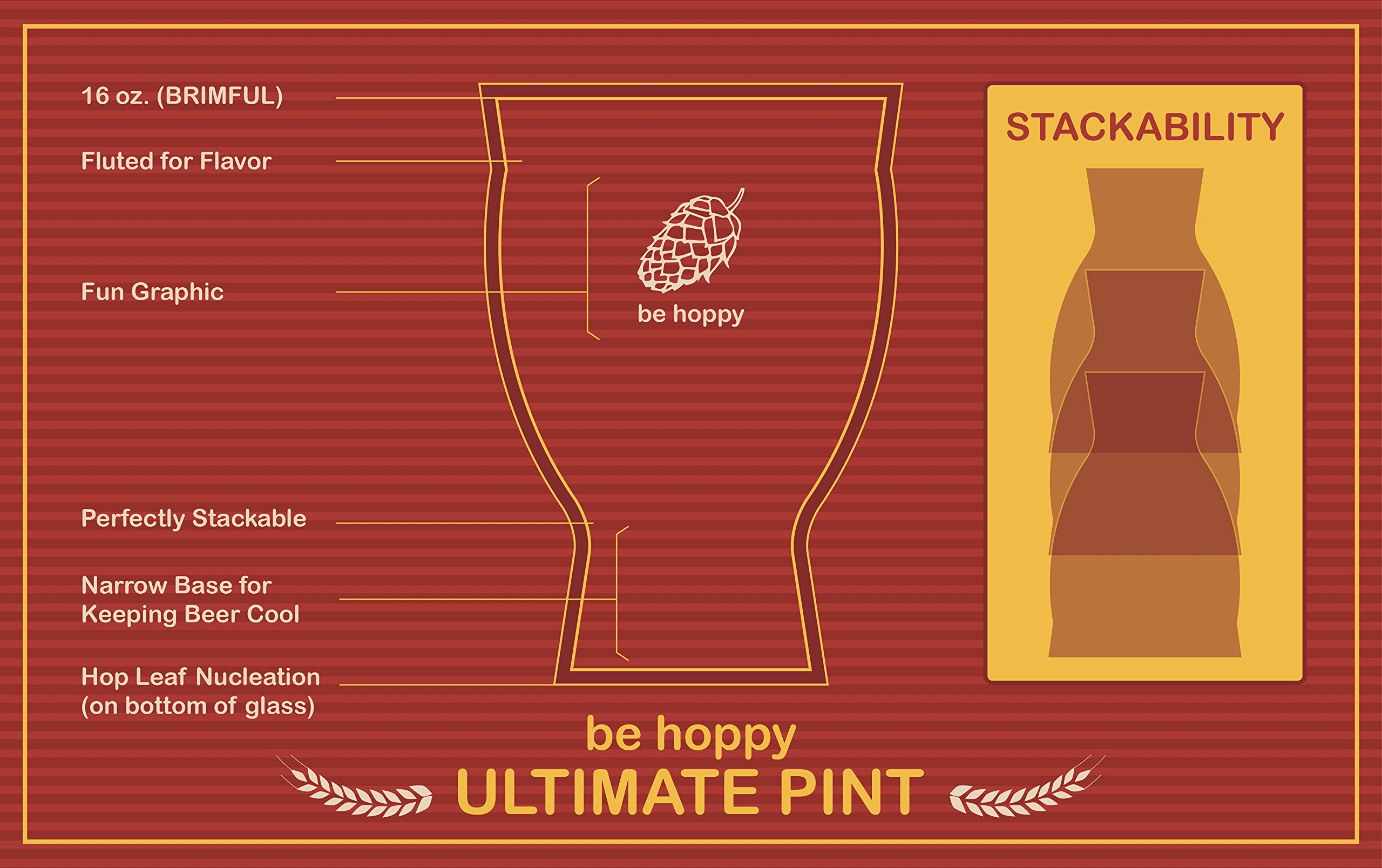 Ultimate Pint - Perfect Pint Glass to Explode Flavors and Maximize Beer Enjoyment - Exclusive Nucleated Hop Leaf Over 100 Points of Nucleation by Cheers All (Image #6)