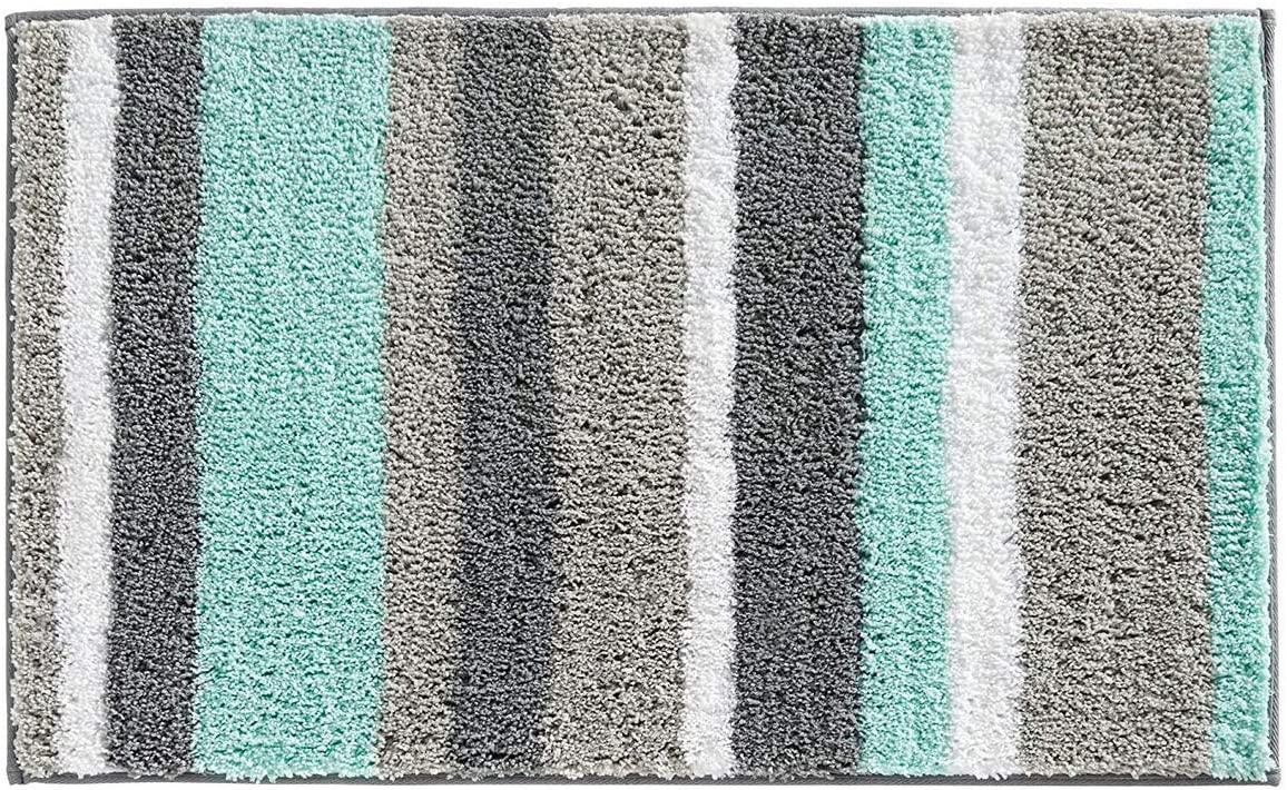 """NC HOME Bath Mat Runners for Bathroom Rugs Extra Soft Absorbent Thickening Shaggy Microfiber Machine-Washable Perfect for Doormats Tub Shower, Striped Pattern Rugs (17.7"""" x 25.6"""", Green)"""