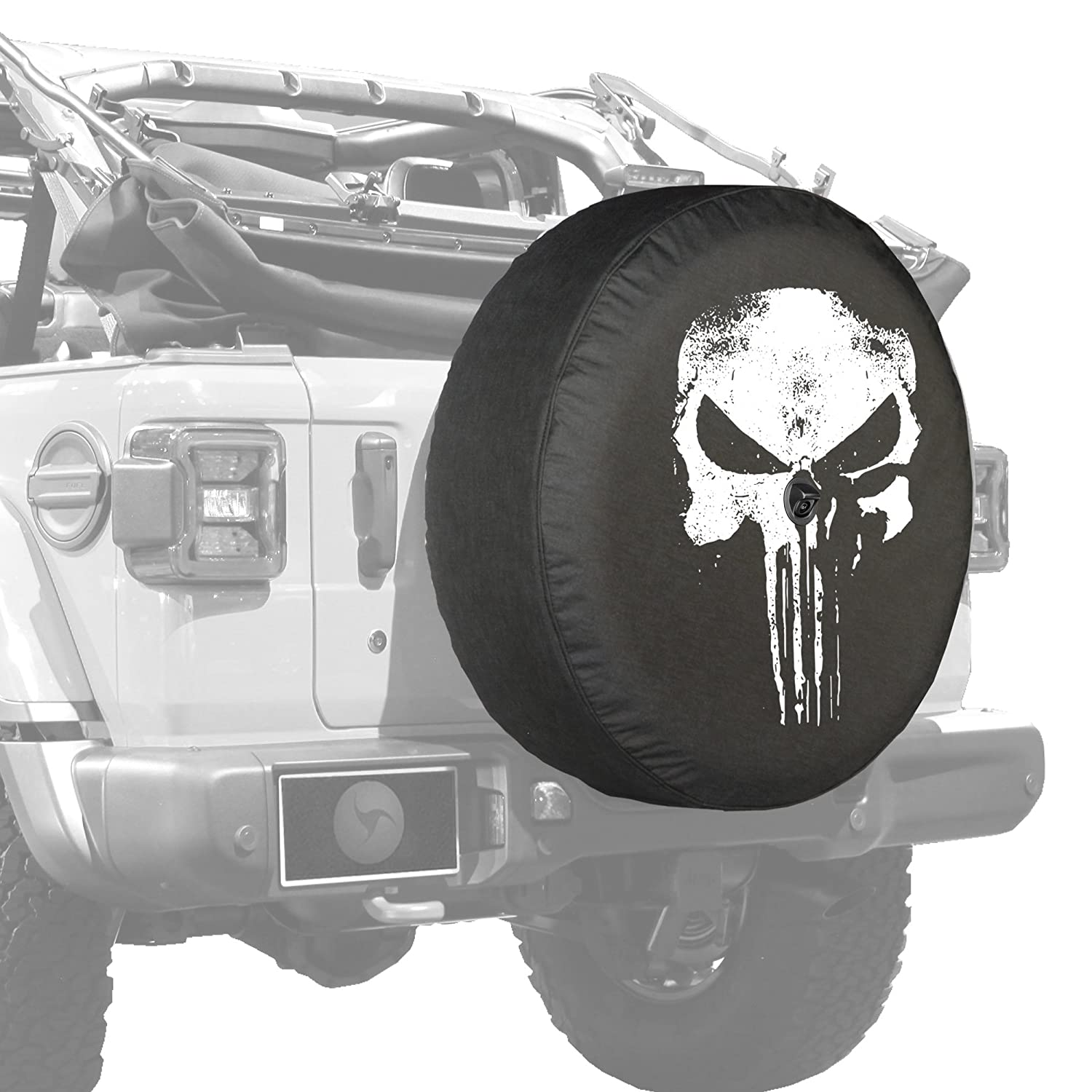 32 Soft JL Tire Cover for use with 2018-2019 Jeep Wrangler JL Sport /& Sahara - Distressed Punisher Skull Boomerang with Back-up Camera