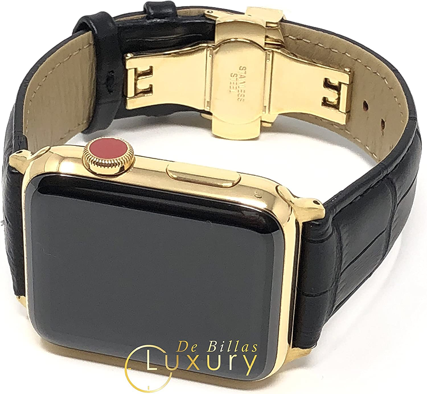 Custom 24K Gold Plated 42MM iWatch Series 3 with Black Leather Deploy Buckle