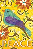 Toland Home Garden Bird of Peace 12.5 x 18 Inch Decorative Colorful Cut Out Yellow Flower Garden Flag