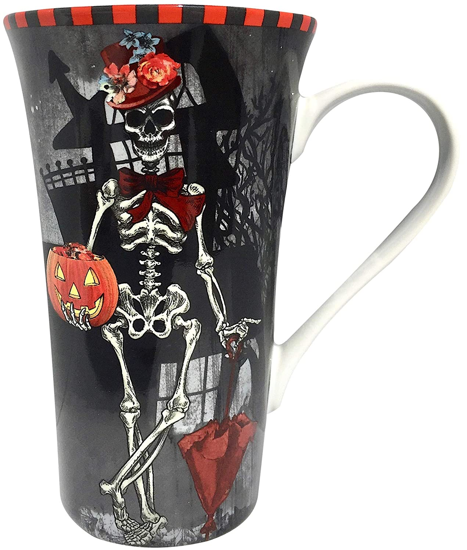222 Fifth Halloween Dapper Skeleton Lady Day Of The Dead Latte Mug 16 Ounce Porcelain