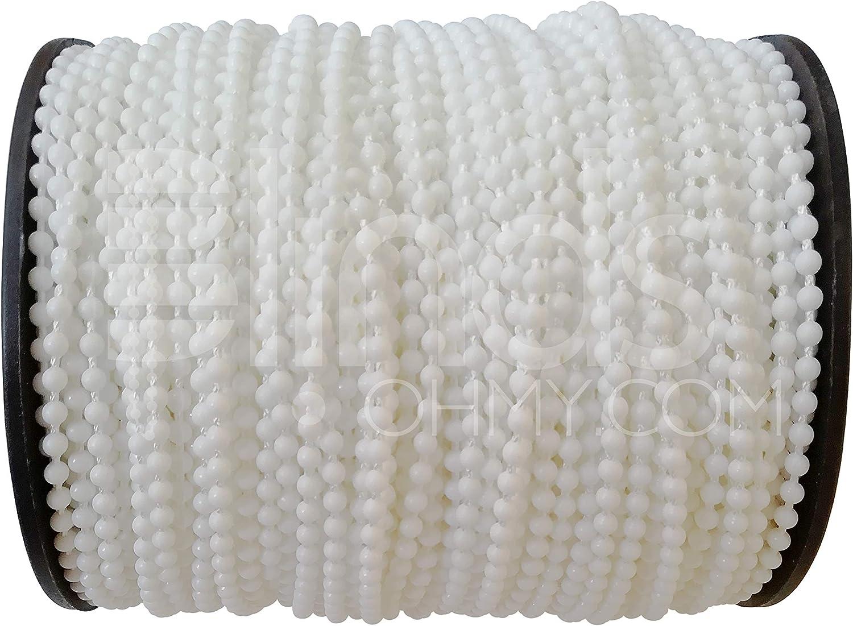perles en plastique blanc 100 Yards Cordon pour fixation de store pour store enrouleur Cha/îne pour r/éparation 4/x 11/mm Chaine /à perles Cordon de store
