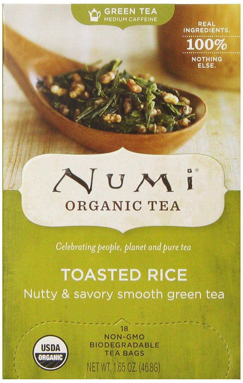 Numi Organic Tea--Toasted Rice Sencha Green Tea--18 count Non-GMO Tea Bags--Individually Bagged Organic Non-GMO Tea