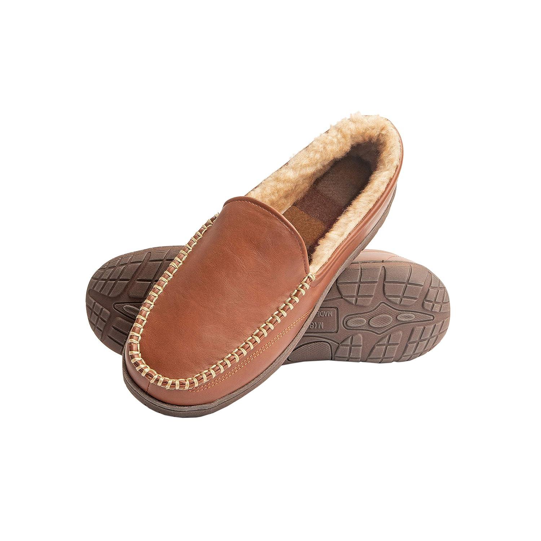 dfb03cf1b0c Heat Edge Mens Memory Foam Slip On Indoor Outdoor Venetian Moccasin Slipper  Shoe