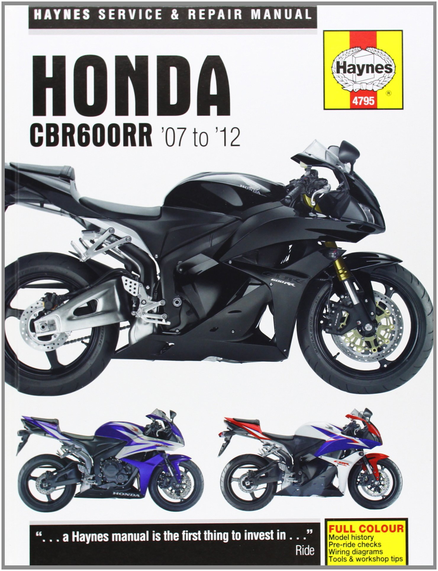 2009 Honda Cbr600rr Wiring Diagram Library Peugeot Fog Lights Service And Repair Manual 2007 2012 Haynes Manuals