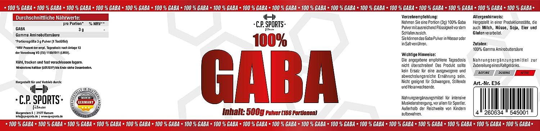 CP Sports GABA Pulver 100% Gamma Aminobuttersäure, reines Pulver ohne Zusätze, vegan, 500g, 1000g, Beruhigung, Entspannung und Schlaf, Regeneration