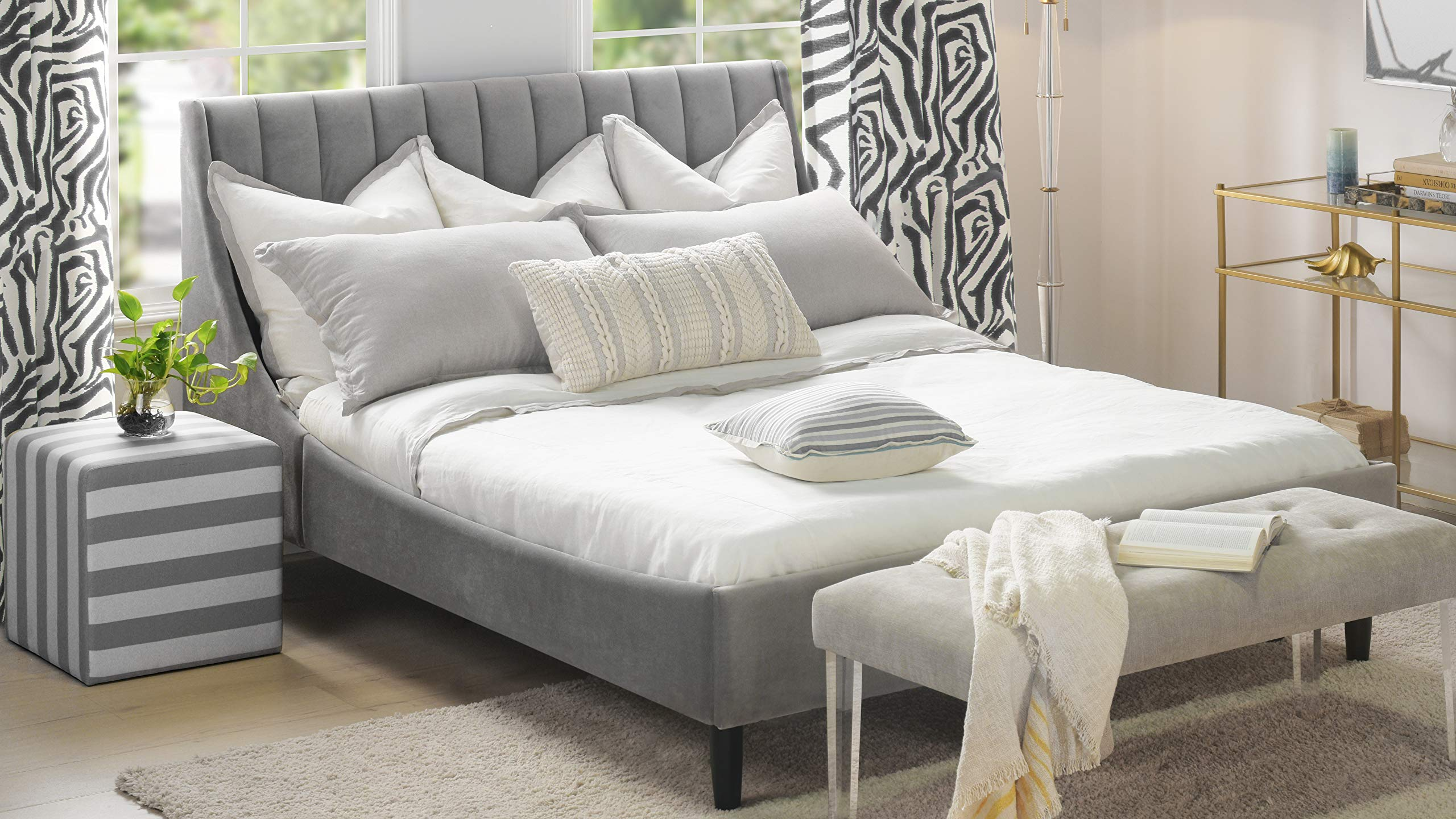 Sandy Wilson Home Aspen Platform Bed, Queen, Opal Grey by Sandy Wilson Home